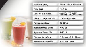 caracteristicas ice fruit smoothies vending